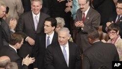 Le Premier ministre Benjamin Netanyahu arrivant au Congrès