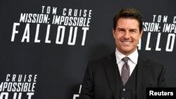 """Tom Cruise durante el estreno de la película película """"Misión Imposible: Repercusión"""", en el museo Nacional del Aire y el Espacio de la institución Smithsonian, en Washington, el 22 de julio de 2018."""