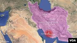 ایرانی صوبے فارس کے دیہات سیف آباد کے نزدیک زلزلے کے مرکز کا نقشہ