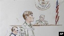 فوجی عدالت میں پیش امریکی فوجی کا خاکہ (فائل فوٹو)
