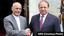 محمد اشرف غنی رئیس جمهور افغانستان و نواز شریف صدراعظم پاکستان در کابل