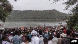 Les habitants de la communauté d'Oromo de différentes parties de l'Éthiopie célèbrent Irreecha Afaan Oromo, également appelée Irreessa, une fête de Thanksgiving du peuple Oromo en Éthiopie à Bishoftu, Oromia, le 30 septembre 2018.
