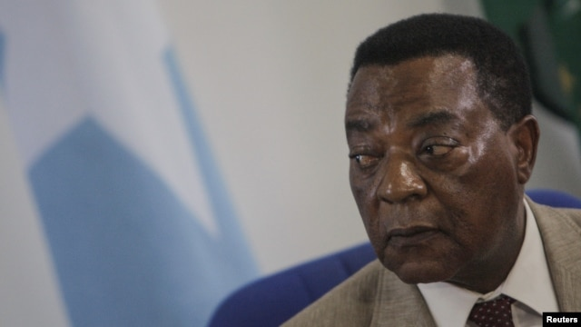 Augustine Mahiga, Special Representative of the United Nations Secretary General for Somalia and head of the U.N. Political Office in Somalia (UNPOS), looks on during a news conference in Mogadishu August 19, 2012, in this photograph released by the Afric