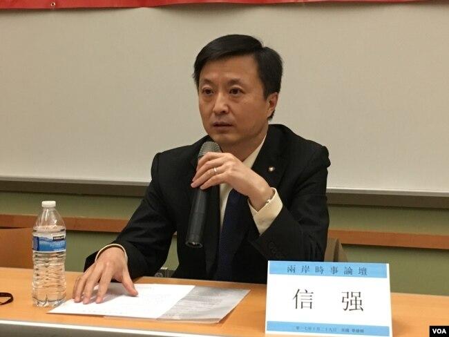 上海復旦大學台灣研究中心主任信強(美國之音鐘辰芳拍攝)