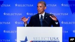 Presiden AS Barack Obama berbicara di hadapan para pemimpin bisnis pada KTT tahunan SelectUSA di Washington, Senin (20/6).