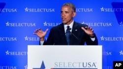 ABŞ prezidenti Barak Obama SelectUSA sammitində nitq söyləyir