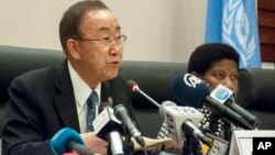 United Nations Secretary General Ban- Ki- Moon speaks during a news conference during the heads of state meeting of the annual African Union (AU) summit, in Addis Ababa, Ethiopia, Saturday, Jan. 31, 2015.
