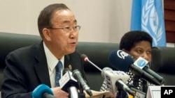Tổng thư ký Liên Hiệp Quốc Ban Ki Moon phát biểu trong 1 cuộc họp báo ở Addis Ababa, Ethiopia, 31/1/2015.