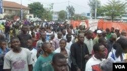 Une vue de la manifestation du 28 novembre 2012 à Goma