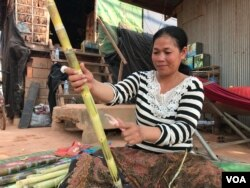 Run Saroeun, 35, mother of two children taking classes at a South Korean-owned Thansure School, said on March 14, 2020 that she didn't want her children to merely stay home because they feel bored without friends. (Hul Reaksmey/VOA Khmer)