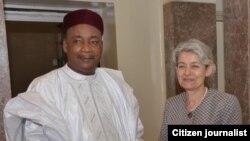 Irina Bokova Babbar Daraktar UNESCO da Shugaban kasar Niger Issoufou Mahammadou