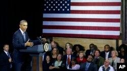 Tổng thống Hoa Kỳ Barack Obama phát biểu tại Charleston, bang West Virginia, ngày 21/10/2015.