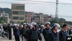 廣東汕頭海門鎮民眾抗議,大批武警到場鎮壓