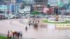 La place de l'Indépendance inondée par la pluie, à Bukavu, le 11 janvier 2020. (VOA/Ernest Muhero)