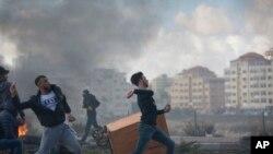 资料照片:巴勒斯坦抗议者