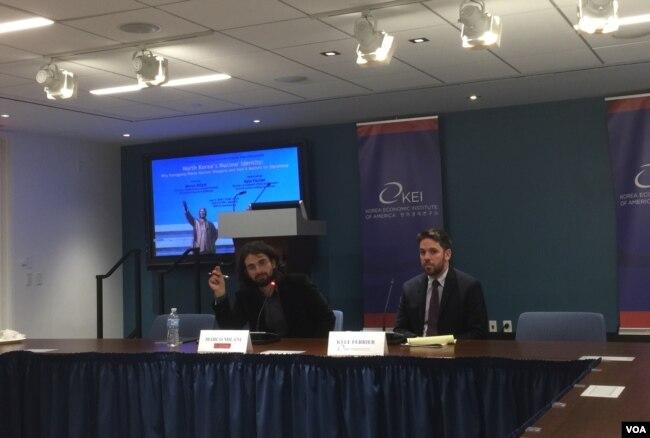 美國南加州大學國際關係學院講師馬爾科·米拉尼(左)2018年6月7日在華盛頓韓國經濟研究所(KEI)分析朝鮮核問題(美國之音葉林拍攝)