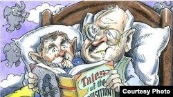 """""""床头故事""""讽刺了布什父子发动伊拉克战争 (Brian Fairrington)"""