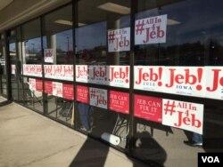 前佛罗里达州长杰布·布什的竞选总部(美国之音龚小夏,平章拍摄)