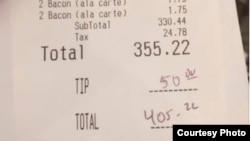 匿名女士为用餐的消防员买单