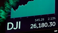 A board above the floor of the New York Stock Exchange shows the closing number for the Dow Jones industrial average, Nov. 7, 2018.