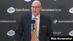 오픈 도어즈 미국지부의 데이비드 커리 회장이 10일 '2018 세계 기독교 감시목록'을 발표하고 있다.