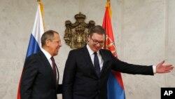 Predsednik Srbije Aleksandar Vučić, desno, sa ruskim ministrom inostranih poslova Sergejom Lavrovom u Beogradu, Srbija, 21. februara 2018.