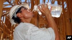 امریکی ریاست کیلی فورنیا میں گرمی سے نڈھال ایک مزدور اپنی پیاس بجھا رہا ہے۔ فائل فوٹو