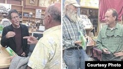 Mike Ritter and Peter Maguire speak with former smugglers who attended book signings in California. (Courtesy Photo)