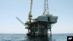 FILE - Photo provided by the California State Lands Commission shows Platform Holly, an oil drilling rig in the Santa Barbara Channel offshore of the city of Goleta, California.