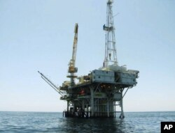 Photo provided by the California State Lands Commission shows Platform Holly, an oil drilling rig in the Santa Barbara Channel offshore of the city of Goleta, California.