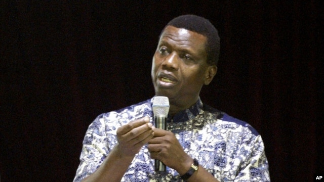 Pastor Enoch Adejare Adeboye, leader of the Redeemed Christian Church of God, preaches to the congregation at the redeemed camp during the Holy Ghost all-night revival in Lagos, Nigeria. (file photo)