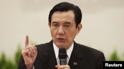 Taiwan President Ma Ying-jeou during a news conference after his inauguration ceremony at the Presidential Office in Taipei, May 20, 2012