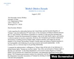Phần đầu bức thư ngày 4/8/2021 của Thượng Nghị sĩ John Cornyn gửi Ngoại trưởng Hoa Kỳ Antony Blinken. Photo dvov.org