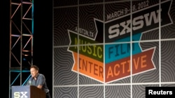 Bruce Springsteen delivers a keynote address at the South by Southwest (SXSW) Music Festival at the Austin Convention Center, Texas, March 15, 2012.