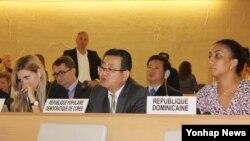 지난 2015년 9월 스위스 제네바 유럽 유엔본부에서 열린 유엔 인권이사회 북한 인권 패널 토론회에서 북한 최명남 주 제네바 주재 차석대사(가운데)가 발언하고 있다. (자료사진)