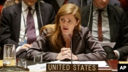 FILE - Samantha Power, the United States' ambassador to the United Nations speaks during a meeting of the U.N. Security Council, at United Nations headquarters, Dec. 30, 2014.