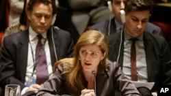 Duta Besar AS untuk PBB, Samantha Power, dalam pertemuan di Dewan Keamanan di New York.