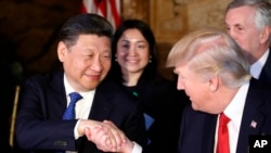 President Donald Trump shakes hands with Chinese President Xi Jinping during a dinner at Mar-a-Lago, in Palm Beach, Florida, April 6, 2017.