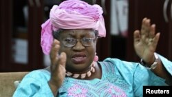 Nigeria's Finance Minister Ngozi Okonjo-Iweala speaks during an interview with Reuters in her office in Abuja, August 24, 2012.