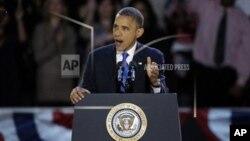 """Dalam pidato kemenangannya, Presiden Obama mengatakan bahwa """"yang terbaik akan tiba"""" bagi bangsa Amerika (7/11)."""