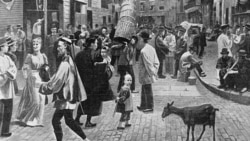 A drawing of Chinese immigrants in New York City