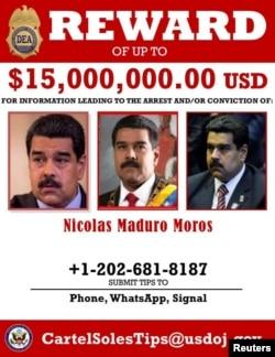 ABŞ Narkotika İcra Departamentinin (DEA) yaydığı elanda Venesuela Prezidenti Nikolas Maduronun həbsinə və məhkum edilməsinə yardımçı olacaq informasiyanın müəllifinə $15 milyon dollar vəd edilir.