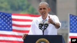 President Barack Obama speaks about the economy and transportation at Georgetown Waterfront Park in Washington, July 1, 2014.