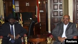Rais wa Sudan Kusini Salva Kiir alipokutana na Rais wa Sudan Omar Al Bashir huko Juba.
