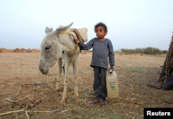 Malnourished boy Hassan Merzam Muhammad stands by a donkey near his family's hut in Abs district of Hajjah province, Yemen November 20, 2020. (REUTERS/Eissa Alragehi)
