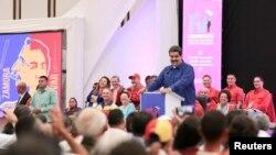 El presidente de Venezuela, Nicolás Maduro, asiste a un plenario del Congreso del Partido Socialista Unido de Venezuela (PSUV) en Caracas, Venezuela, el 30 de julio de 2018. Foto: Palacio de Miraflores / a través de REUTERS -