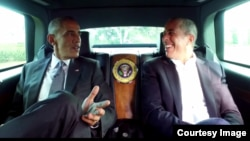 """President Obama got together recently with Jerry Seinfeld to record an episode of the comedian's popular web series, """"Comedians in Cars Getting Coffee."""" (Courtesy of Comedians in Cars Getting Coffee)"""