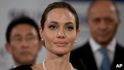 US Actress Angelina Jolie in London, April 11, 2013.