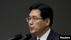 Juru bicara Kementerian Pertahanan Kim Min-seok pada konferensi pers di Seoul (8/5).