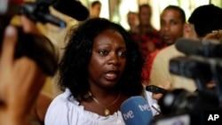 Berta Soler, pemimpin faksi Ladies in White, saat memberikan keterangan kepada wartawan di Havana, Kuba (Foto: dok).